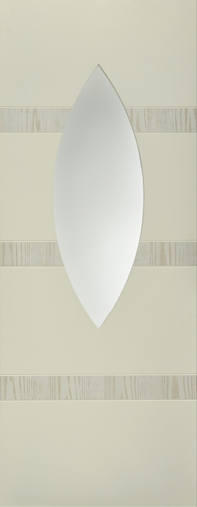 Internal White Moulded Smooth Aurora Oval Door Primed with Clear Flat Glass