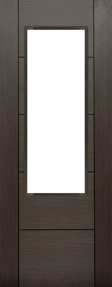 Internal Grey Koto Arran 1 Light Door Prefinished Clear Flat Glass